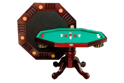 "3 in 1 Game Table - 54"" Octagon Poker/Bumper/Dining in Mahogany"