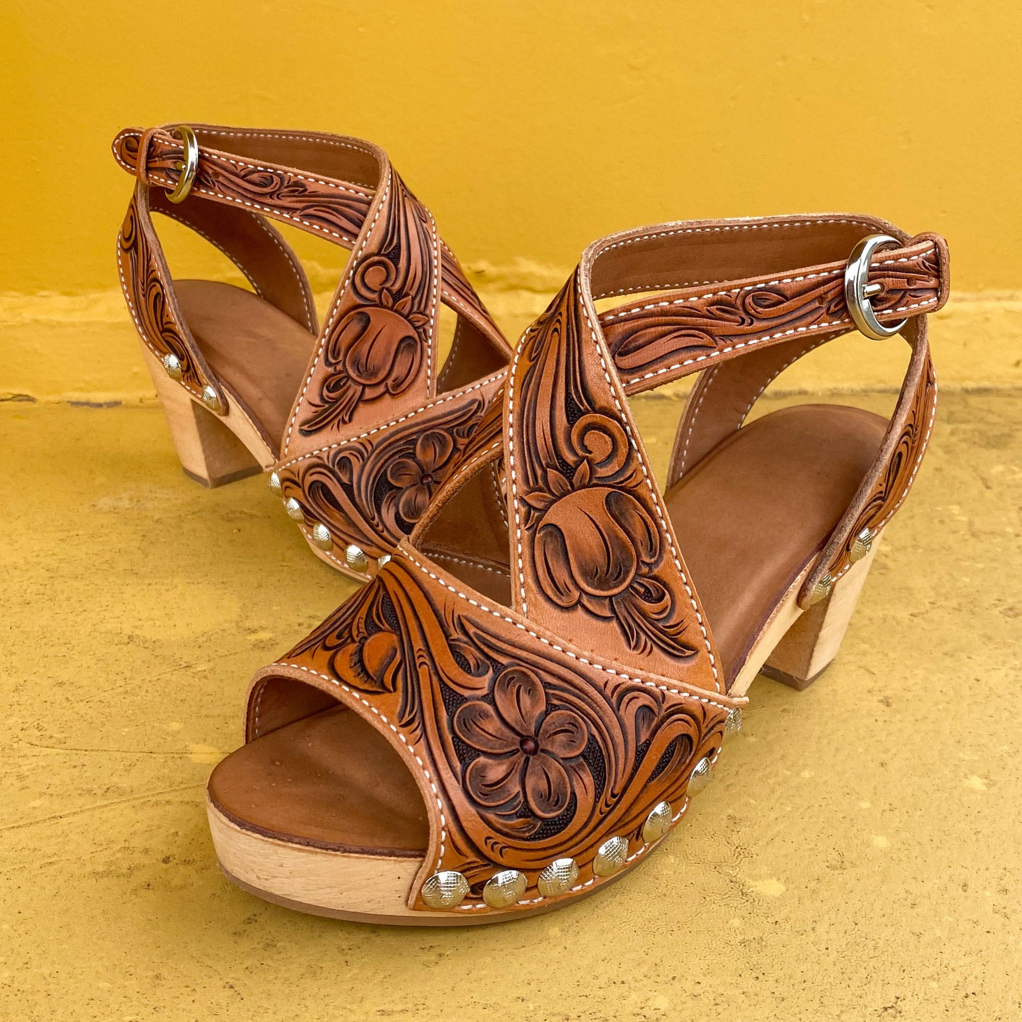Tooled Cross Strap Low Heel DEPOSIT ONLY