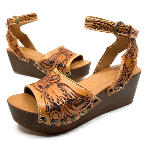 Tooled Two Strap Low Wedge DEPOSIT ONLY
