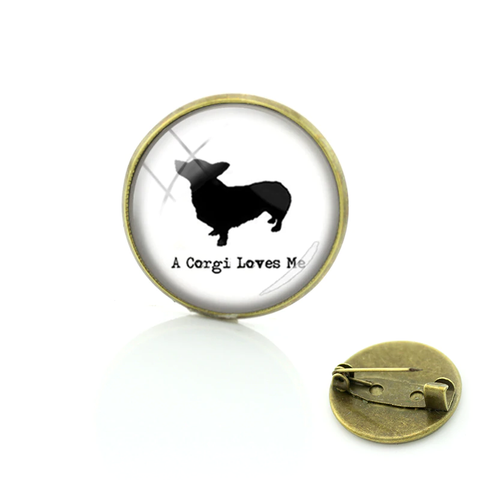 'A Corgi loves me' Brooch Pin - Antique