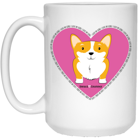 I Love My Corgi (Untoasted Pink) 15 oz. White Mug