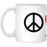 Peace Love Corgis (Burnt) 11 oz. White Mug