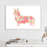 Corgi Watercolor Floral Canvas Poster