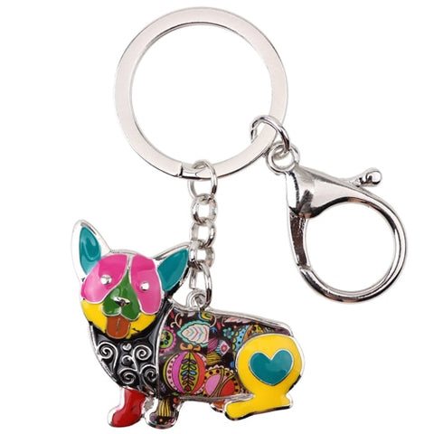 Bonsny Enamel Corgi Key Chain - Sitting