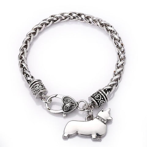 Corgi Charm with Braided Bracelet