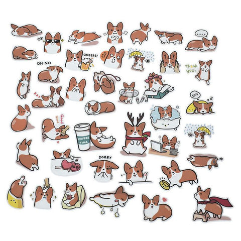 40 pcs/set Corgi Stickers
