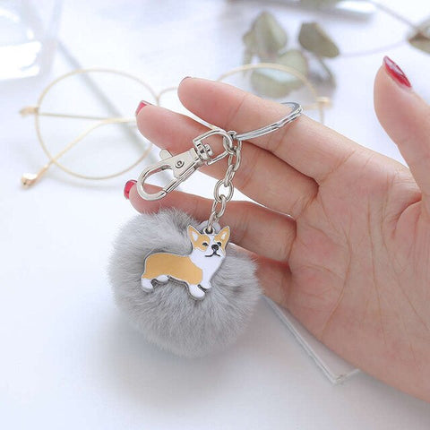 Corgi Key Chain with Fur Pom Pom