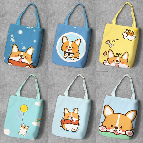Corgi Anime Printed Canvas Tote