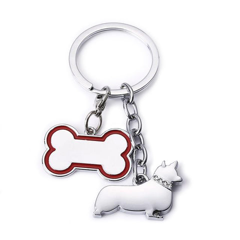 Corgi and Bone Keychain - Silver Zinc Alloy
