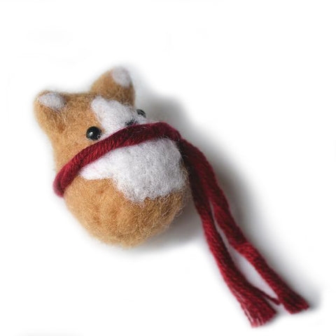 Hand-made felted Corgi broche