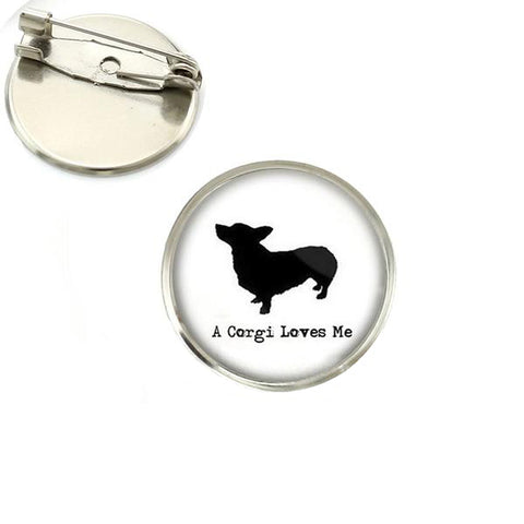 'A Corgi Loves Me' Brooch Pin - Silver