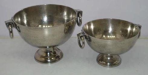 Footed Bowl with Handles Pewter