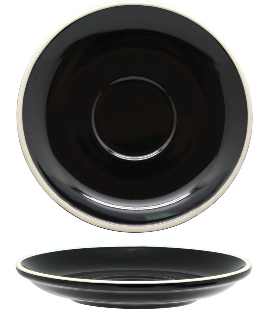 Rockingham Black Long Black / Flat White Saucer