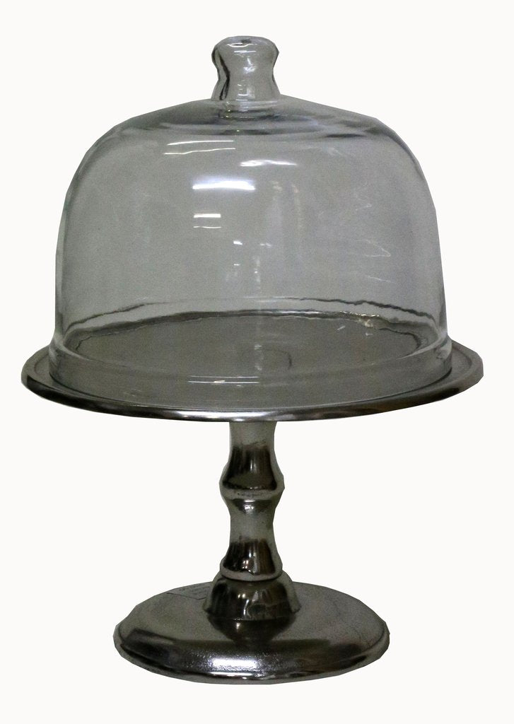 Pewter Cake Stand & Glass Dome
