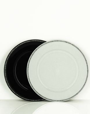 Diamante Gloss Charger Plate Black