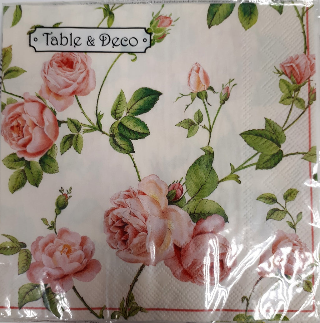 Napkin 'Rose Cream' 3ply - Luncheon