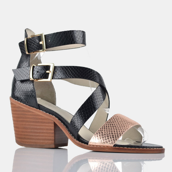 Julz Ava Leather Heels - Black & Rose Gold