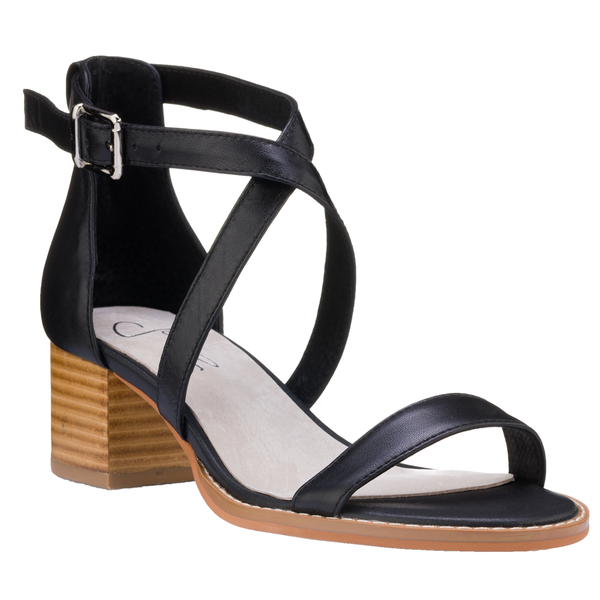 Julz Dune Leather Heels - Black