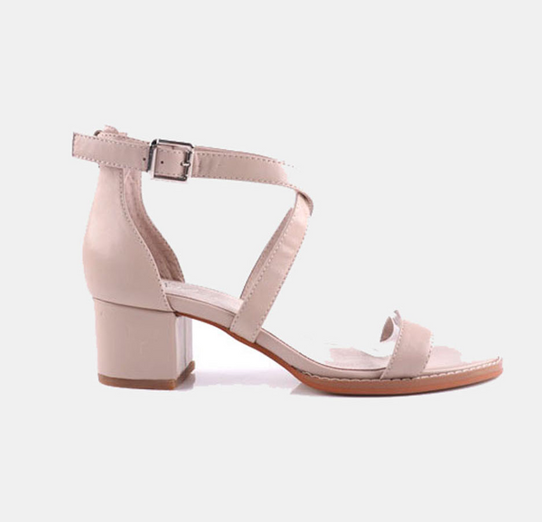 Julz Dune Leather Heels - Nude