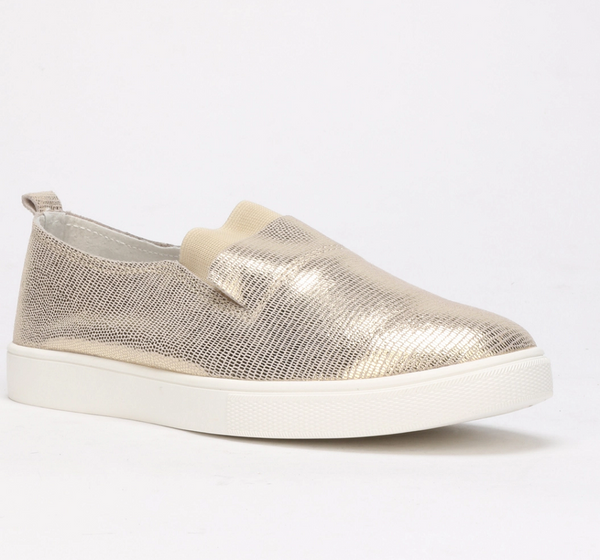 Julz Fran Leather Slip on Sneaker - Gold