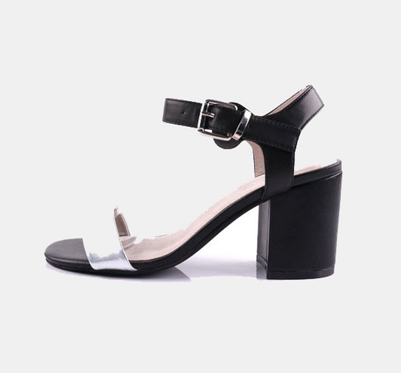 Julz Harper Leather Heels - Black & Silver