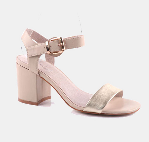 Julz Harper Leather Heels - Nude & Gold