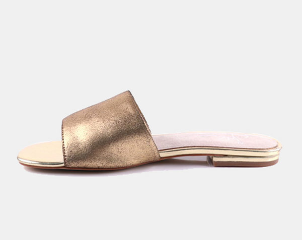 Julz Luna Leather Slider - Gold