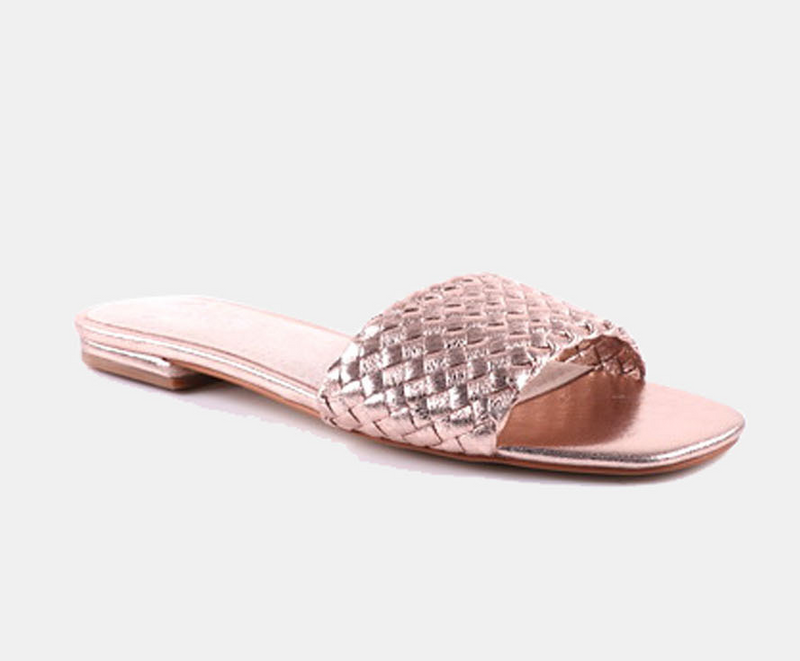 Julz Luna Leather Slider - Rose Gold