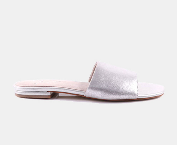Julz Luna Leather Slider - Silver