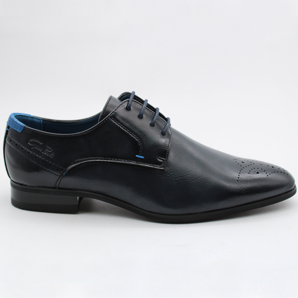 Gino Paoli Men's Andrew Contrast Stitch Wing Tip Formal Shoe - Navy
