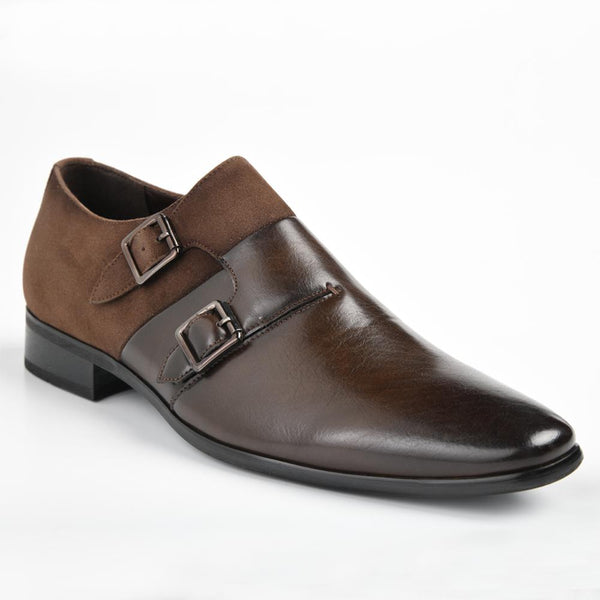 Baldini Men's Evan Formal Double Buckle Monk Shoe - Brown