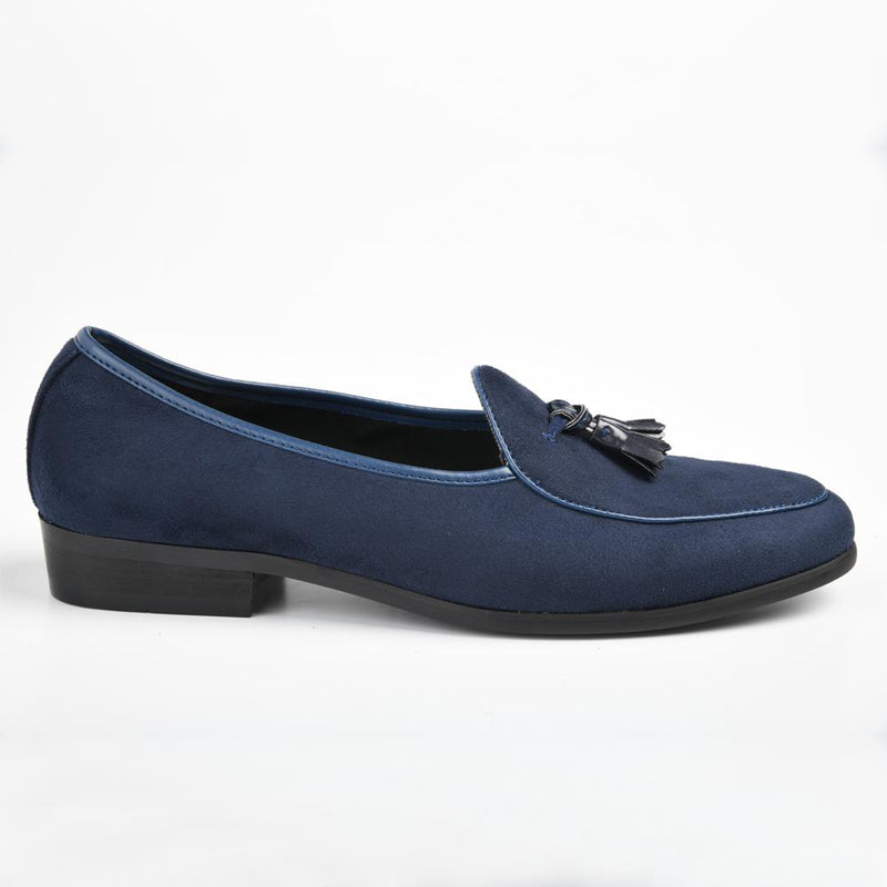 P Crouch  Men's Lincoln Suede Tassle Formal Loafer - Navy