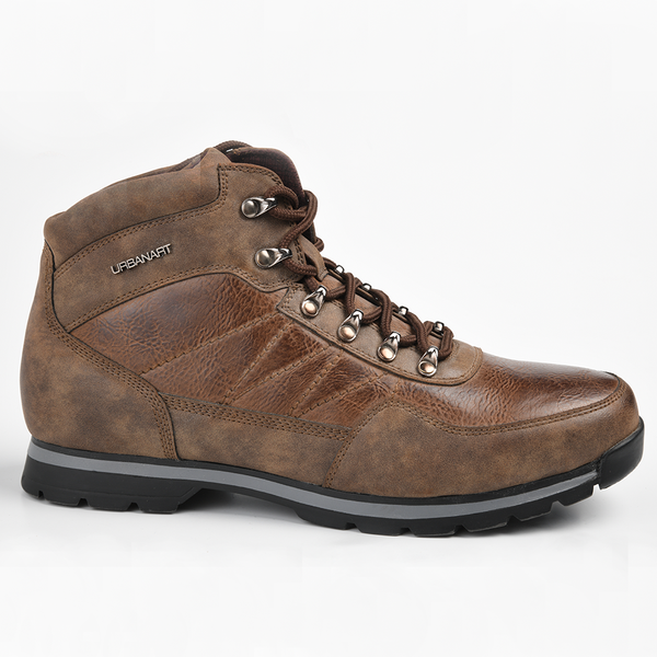 Urban Art Men's Bastian High Top Lace Up Hiker Boot - Choc