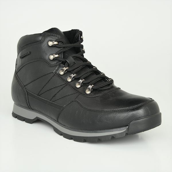 Urban Art Men's Bastian High Top Lace Up Hiker Boot - Black