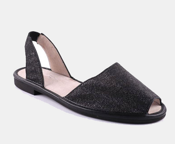 Julz Mae Leather Flats - Black Glitter