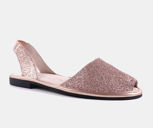Julz Mae Leather Flats - Rose Gold Glitter