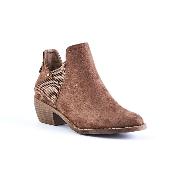 Queue Chloe Embossed Elastic Trim Block Heel Boot - Light Brown