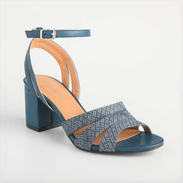 Alessio Women's Mia Strappy Block Heel Heel Sandals -Blue