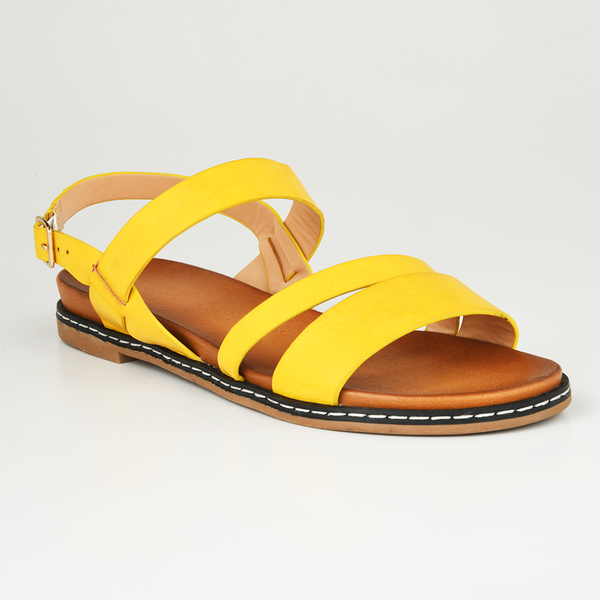 Dodo's Women's Simone Strappy Flat Sandals - Yellow