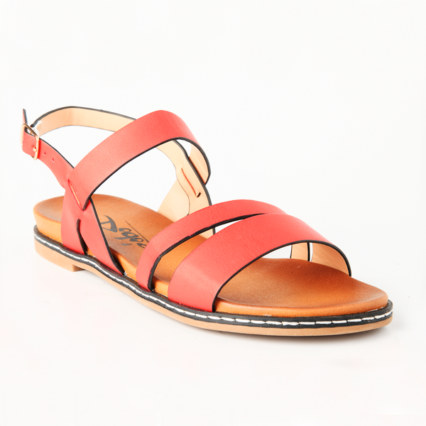 Dodo's Women's Simone Strappy Flat Sandals - Red