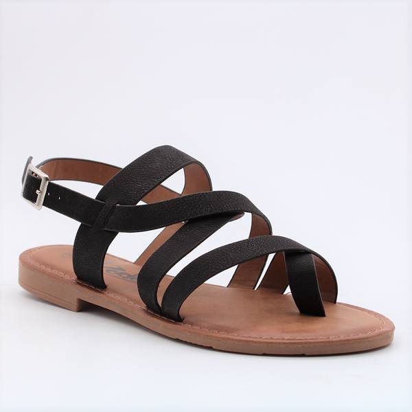 Dodo's Women's Gemma Strappy Flat Sandals - Black