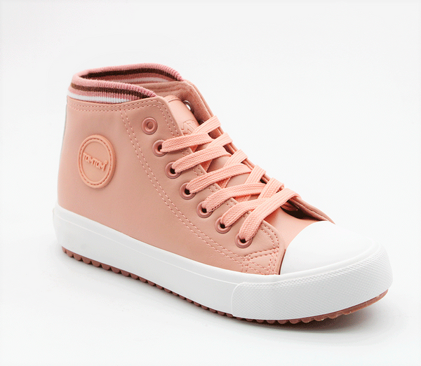 Tom Tom Womens Sadie Ribbed Collar High Top Sneaker - Pink