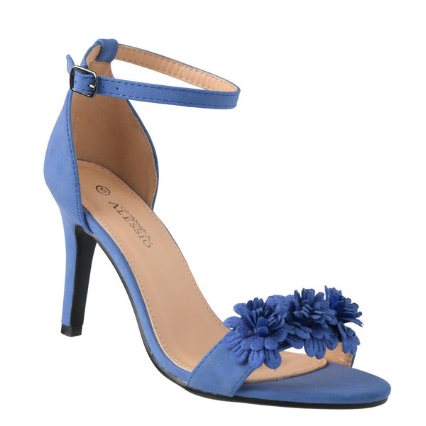 Alessio Women's Grace Floral Trim High Heel Sandals - Blue