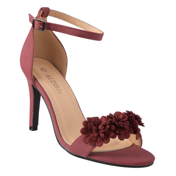 Alessio Women's Grace Floral Trim High Heel Sandals - Burgundy