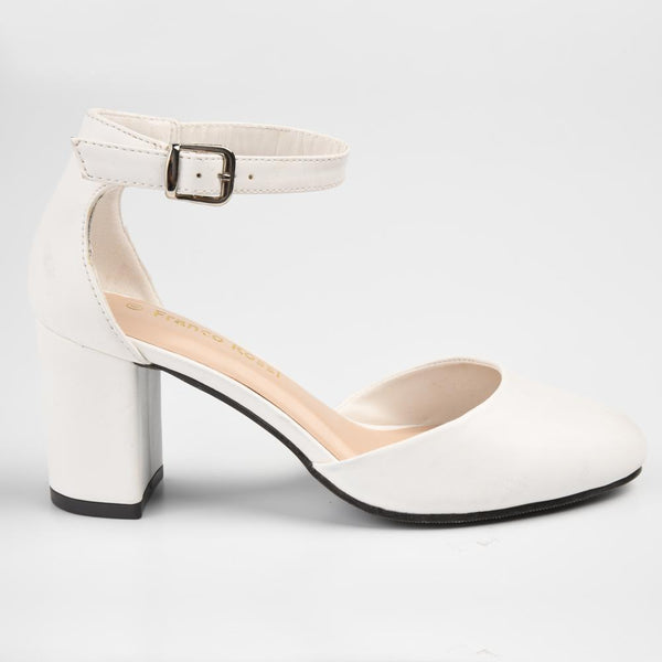 Franco Rossi Sue Open Waist Ankle Strap Court - White