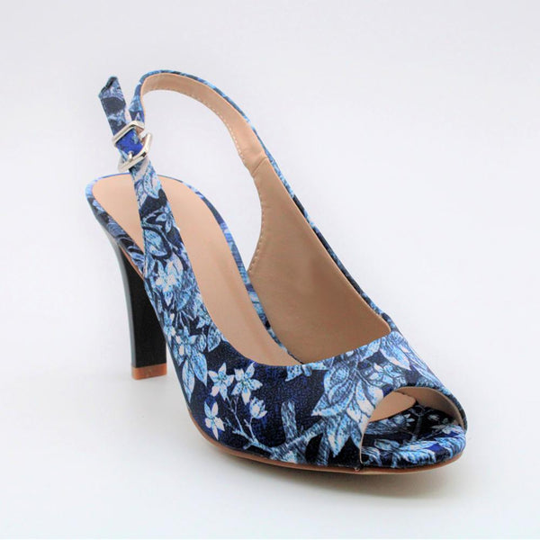 Queue Women's Lilah Peeptoe Slingback Heels - Blue