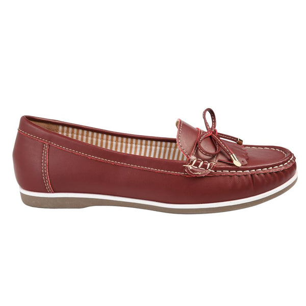 Franco Rossi Women's Elena Casual Bow Mocassins - Burgundy