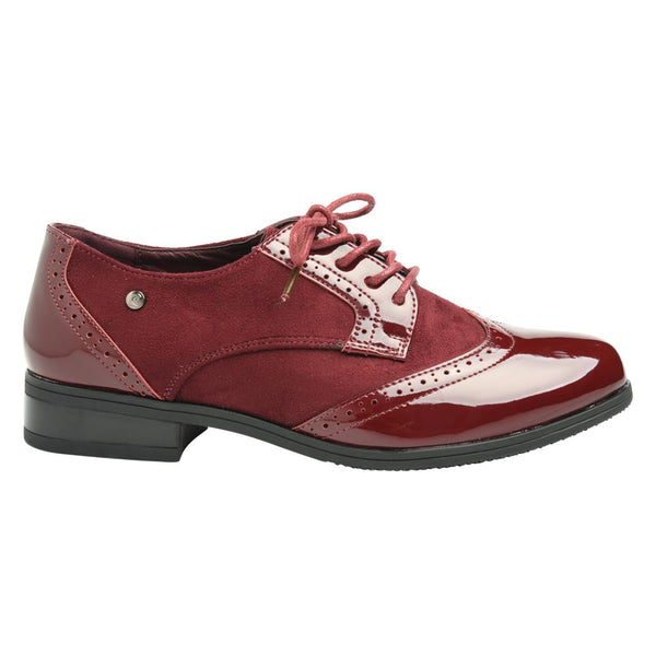 Pierre Cardin Women's Amber Lace Up Wing Tip Brogues - Burgundy