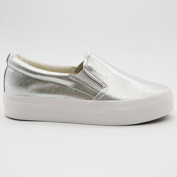 Queue Women's Briana Slip On Flatform Sneakers - Silver