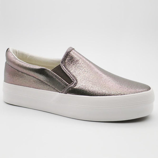 Queue Women's Briana Slip On Flatform Sneakers - Pewter